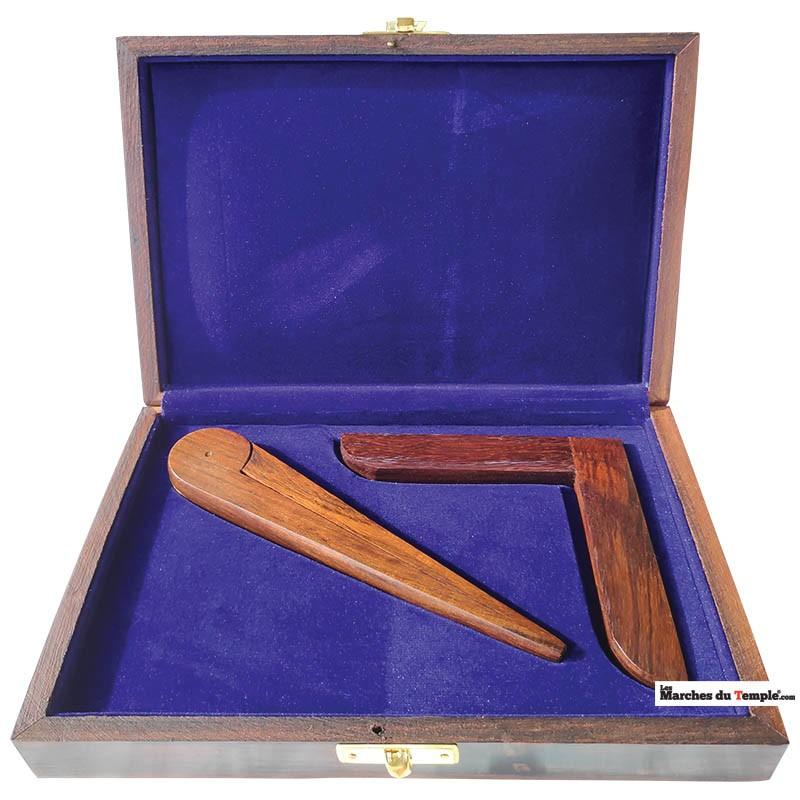 Matériel de Loge Coffret en bois Équerre & Compas