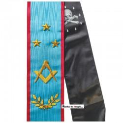 Décors Cordon de Maître - Équerre compas, étoiles et rameaux - Rite Écossais Ancien et Accepté - REAA