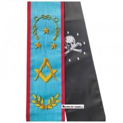 Décors Cordon de Maître - Équerre compas, lacs d'amour, étoiles et rameaux - Rite Écossais Ancien et Accepté - REAA