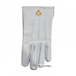 Accessoires Décors Gants en cuir blanc - Equerre et Compas brodés main