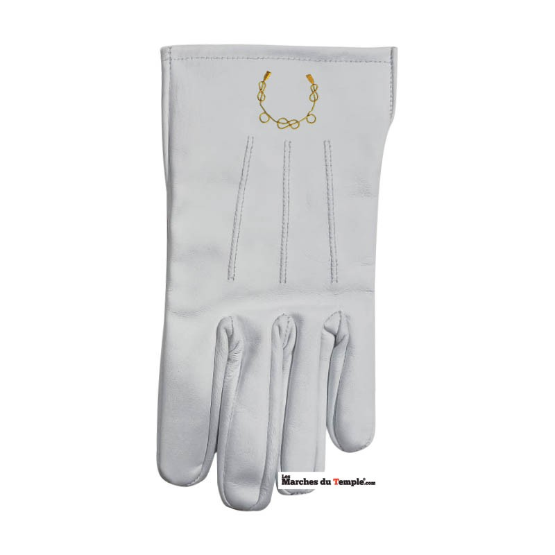 Accessoires Décors Gants en cuir blanc - Lacs d'amour brodés main