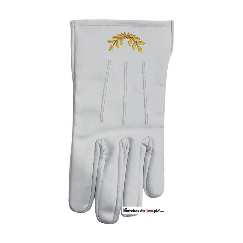 Accessoires Décors Gants en cuir blanc - Rameaux d'Acacia brodés main