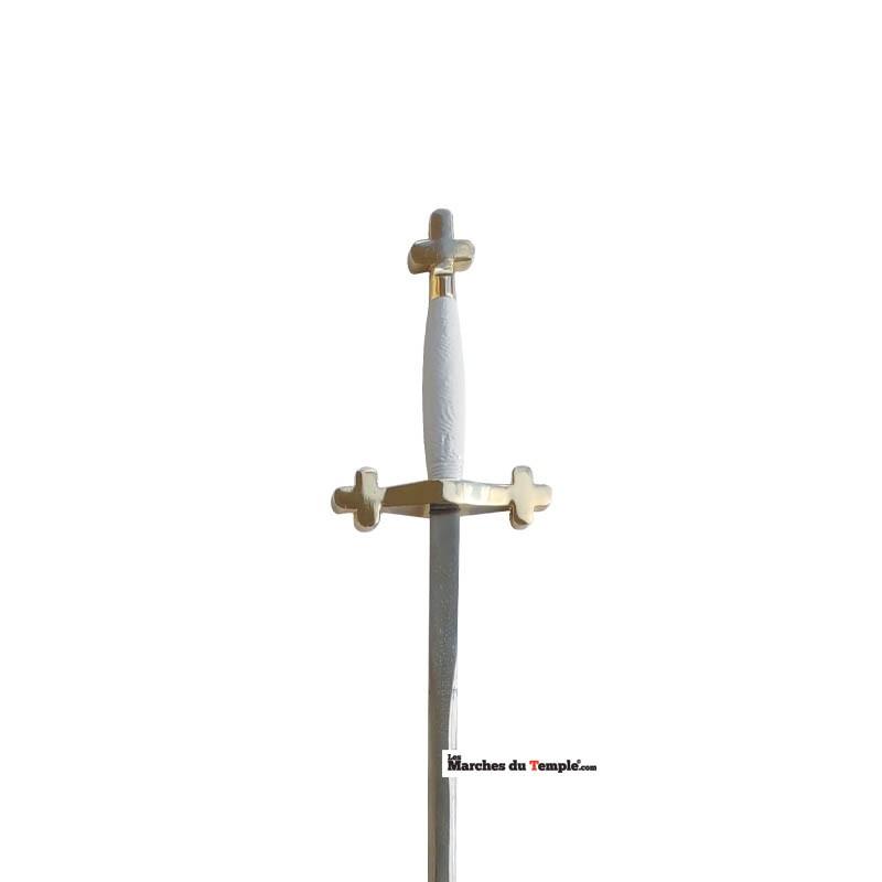 Accessoires décors Épée tréflée - garde blanche et fourreau rouge
