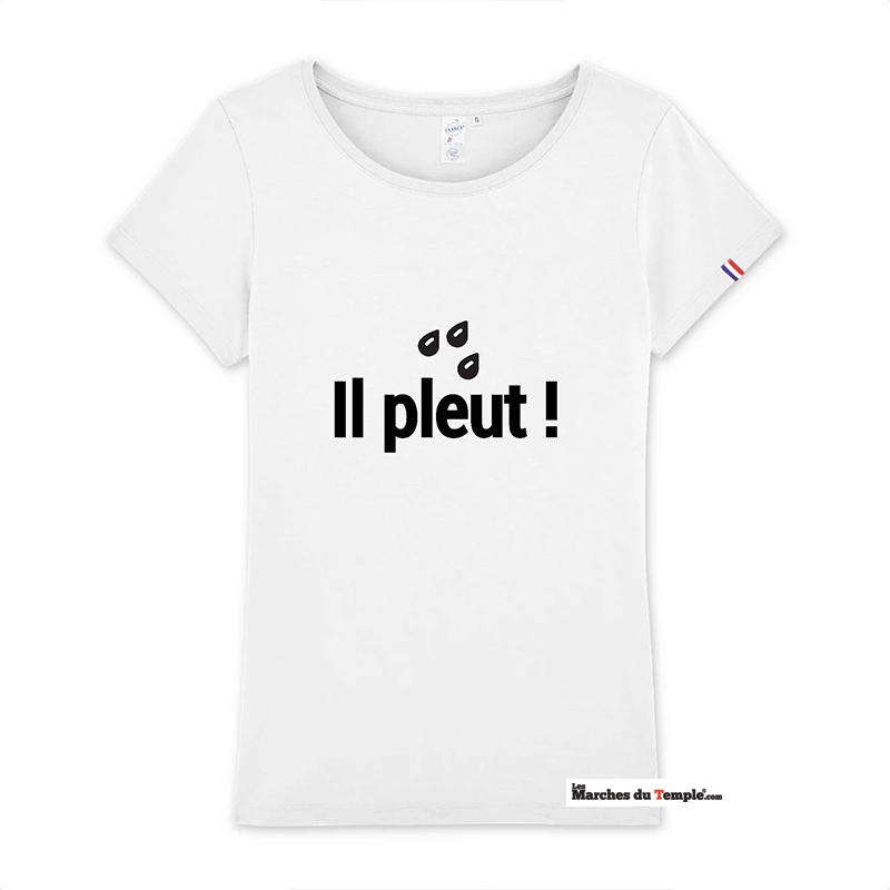 Vestiaire Maçonnique T-shirt 100% coton Bio IL PLEUT - Femme