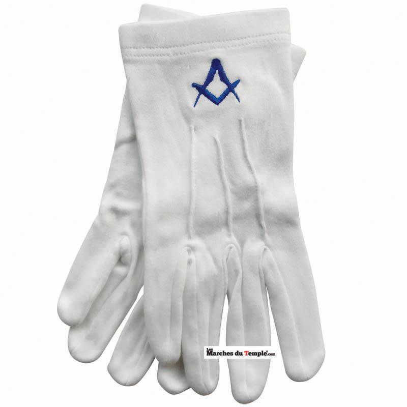 Accessoires Décors Gants blancs en coton avec équerre bleue brodée